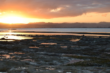 The beach rock pools reflect the sunset sky in Gisborne, New Zealand.