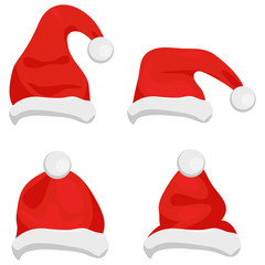 Santa Claus hats of red color, traditional costume element for winter character. Santa christmas hat vector illustration. Red santa top hat isolated on white background. Vector illustration.