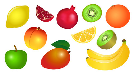 Set of vector illustrations of yellow red green fruits.