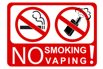 simple sign no smoking and vaping, isolated on white
