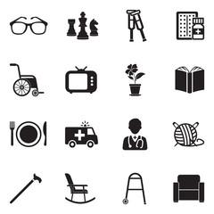Nursing Home Icons. Black Flat Design. Vector Illustration.