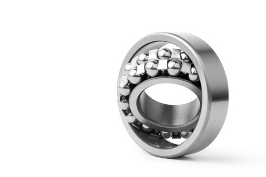 Metal ball bearing isolated on white background