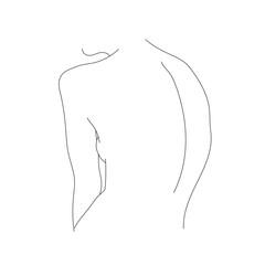drawing a line, minimalism, one line, female figure