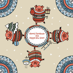 Merry Christmas card with funny pigs and snow