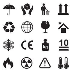 Packing Icons. Black Flat Design. Vector Illustration.