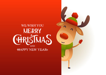 Cute reindeer stands behind red signboard advertisement banner with text Merry Christmas and Happy New Year