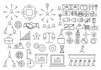Business icons set,Collection solution outline icons include icons such as point of service, Icons for business, management, finance,  strategy, marketing,target, puzzle, light bulb, lamp, tactics, id