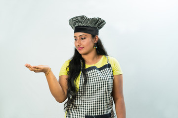 Chef woman. Isolated over white background