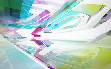 abstract architectural interior with gradient geometric glass sculpture. 3D illustration and rendering