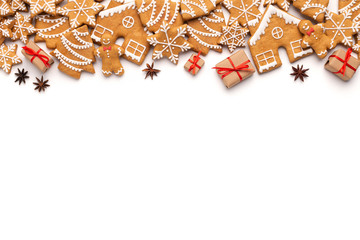 Fototapeten Brot Christmas border with gingerbread cookies and aromatic spices