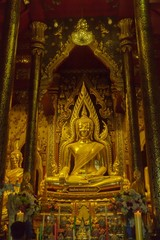 Beautiful golden Buddha in Thai temple