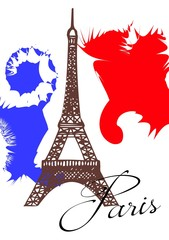 Travel card with Eiffel Tower and French flag.
