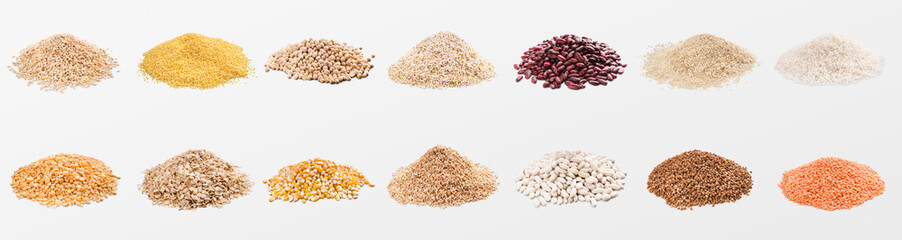 Obraz Heaps of various grains and cereals on white background - fototapety do salonu
