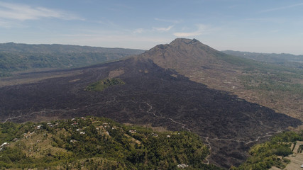 Aerial view landscape after volcanic eruption volcano Batur mountain landscape with volcano sky and clouds Bali, Indonesia. Travel concept.