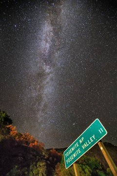 Yosemite national park sign with milky way in background
