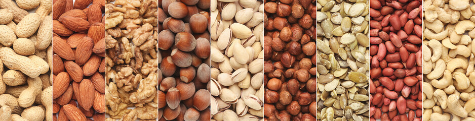 Collage of different nuts in rows, top view Fototapete