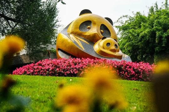 Panda statue in Chengdu China at the Panda Research Center