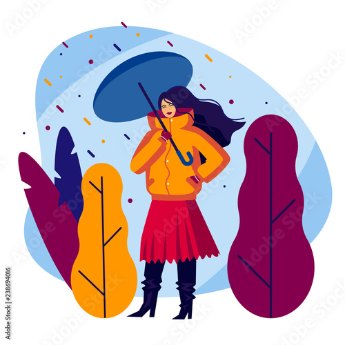 d6225a81cf Color vector illustration of a girl with an umbrella. Flat style poster. Fashionable  girl walks in the rain. Girl in warm clothes on a background of autumn ...