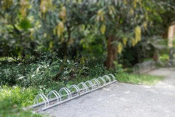 Bicycle park area in the garden