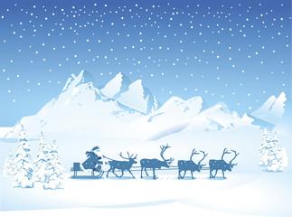 Weihnachtsmann mit Schlittenam Abend – Vektor Illustration