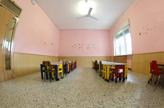 little chairs and tables of a refectory of the kindergarten