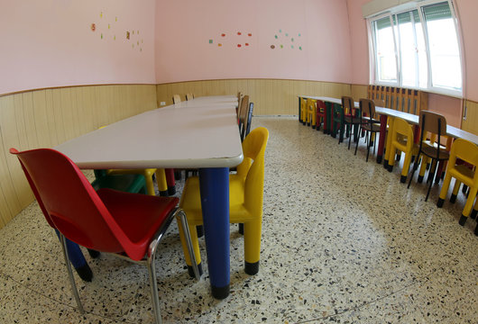 seats and tables in a refectory of the nursery canteen