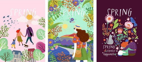 cute posters of spring time, vector drawn illustrations of a happy family in nature, girls against a landscape and a family with a pet cat surrounded by floral patterns Fototapete