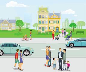 Fußgänger mit Straßenverkehr, Eltern und Kinder, Illustration