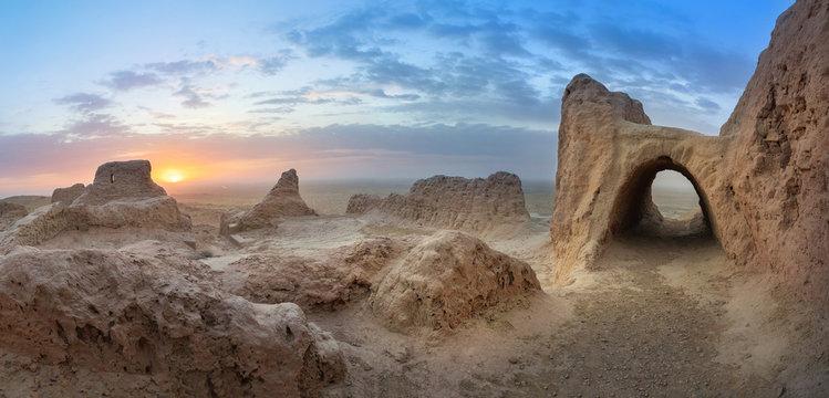 Panoramic view of abandoned ruins of ancient Khorezm fortress Ayaz Kala in Kyzylkum desert, Uzbekistan