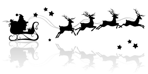 Santa Claus silhouette riding a sleigh with deers. Vector image on isolated white background