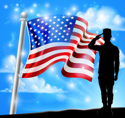 A patriotic soldier saluting standing in front of an American flag background