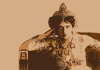 Portrait de Mata Hari, célèbre espionne, accusée d'intelligence avec l'ennemi durant la 1ère guerre mondiale