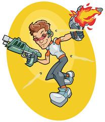 Futuristic super agent fighting