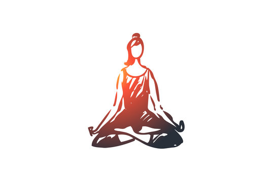 Sit, lotus, pose, woman, relax, yoga concept. Hand drawn isolated vector.