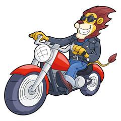 Lion riding motorbike at high speed