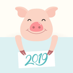 2019 Chinese New Year greeting card with cute pig holding card with numbers. Vector illustration. Flat style design. Concept for holiday banner, decorative element.