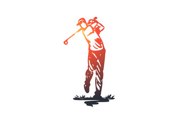 Golf, training, relax, hobby, sport concept. Hand drawn isolated vector.
