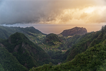 Aerial view from Balcoes at green hills and mountains in Faial county, Madeira