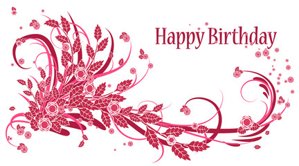 Birthday card. Greeting card in vintage style on a white background. Happy Birthday