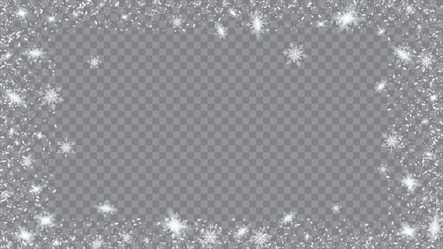 Falling snow background. Holiday illustration for christmas card. Bbright, White, Shimmer, Glowing, Scatter, Falling on a Transparent background.