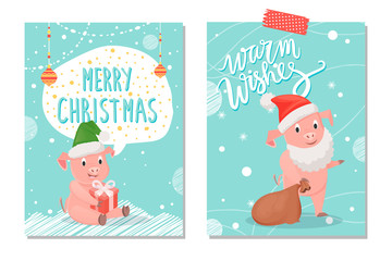 Piggy Warm Wishes and Merry Christmas Card Vector