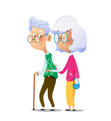 Cartoon couple grandparents are standing next to each other