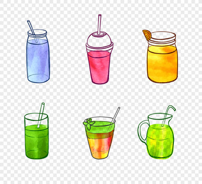 Vector Watercolor Painting, Smoothie Glasses, Elements on Light Transparent Background.