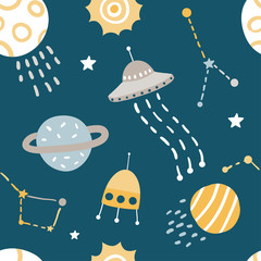 Cute Kids Space Vector Seamless Pattern