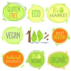 Vector bio icon set of labels, stamps or stickers with signs - Bio market, gluten free, organic product, vegan, food healthy, eat healthy, organic, bio product, nature, Eco food