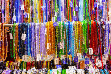 Traditional souvenirs in Prague, beads toys, plates