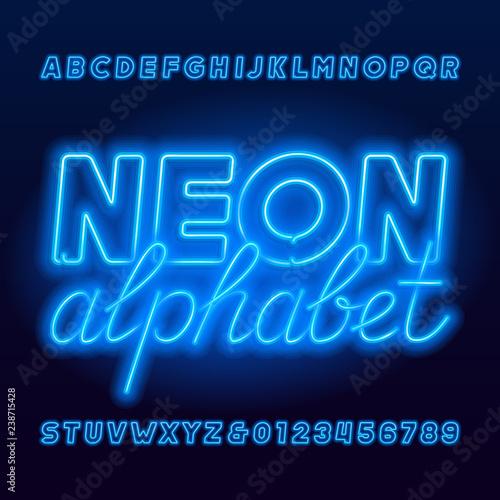 Red neon tube alphabet font  Neon color uppercase oblique