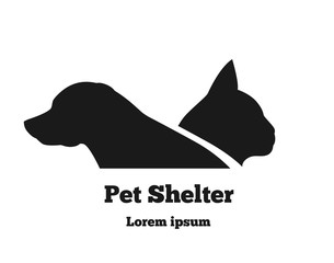 Pet Shelter Logo Template Cat and Dog Isolated