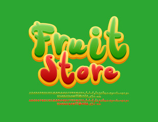 Vector bright Logo Fruit Store. Colorful  Alphabet Letters, Numbers and Symbols. Handmade green and red Font.