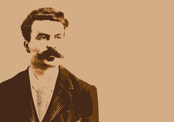 Portrait de Guy de Maupassant, célèbre écrivain et journaliste français du 19ème siècle